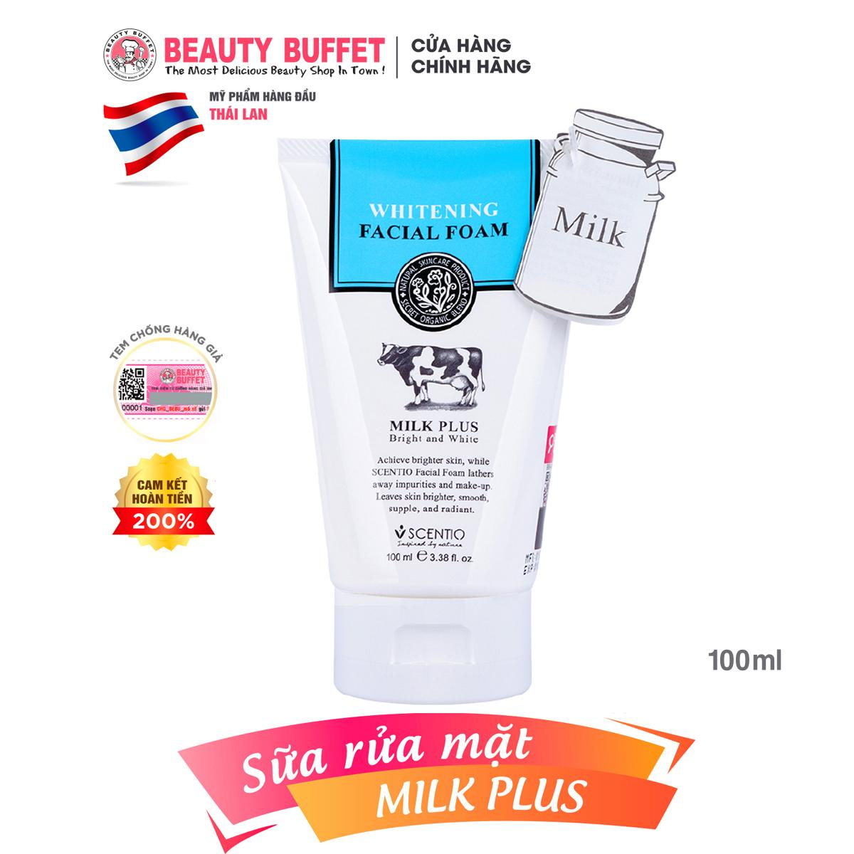 Sữa rửa mặt con bò Beauty Buffet Scentio Milk Plus nuôi dưỡng da mặt rạng rỡ và khỏe mạnh 100ml