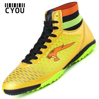 Men TF Soccer Shoes High Ankle Football Boots Soccer Cleat Boots(Gold) - intl