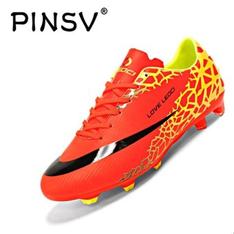 PINSV Men's Outdoor Football Shoes Boots Spike Soccer Shoes (Red) -intl