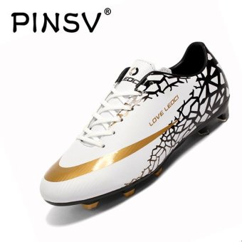 PINSV Men's Outdoor Football Shoes Boots Spike Soccer Shoes (White)- intl