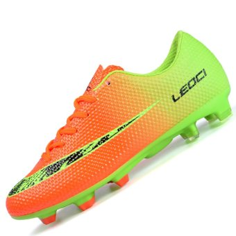 PINSV Men's Outdoor Football Shoes Boots Spike Soccer Shoes(Orange) - intl