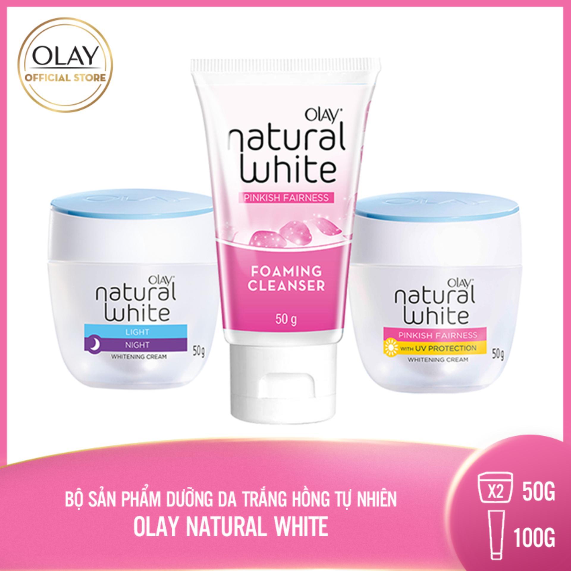 Trọn bộ 3 sản phẩm Dưỡng da Trắng Hồng Tự Nhiên Olay Natural White:  1 Kem dưỡng (ngày) 50g + 1 Kem dưỡng (đêm) 50g + 1 Sữa rửa mặt 50g