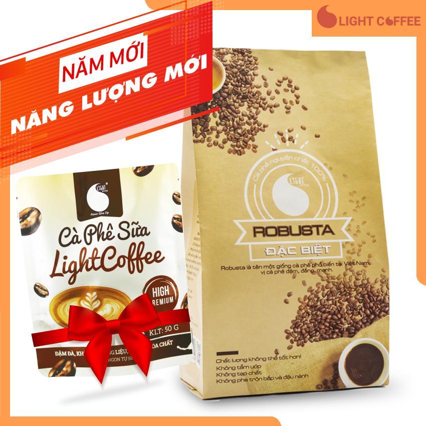 Cà phê bột nguyên chất Light coffee loại Đặc biệt  vị đậm  đắng  mạnh  không tẩm ướp hương liệu 500g - Tặng 01 gói cà phê sữa Light Coffee 50g
