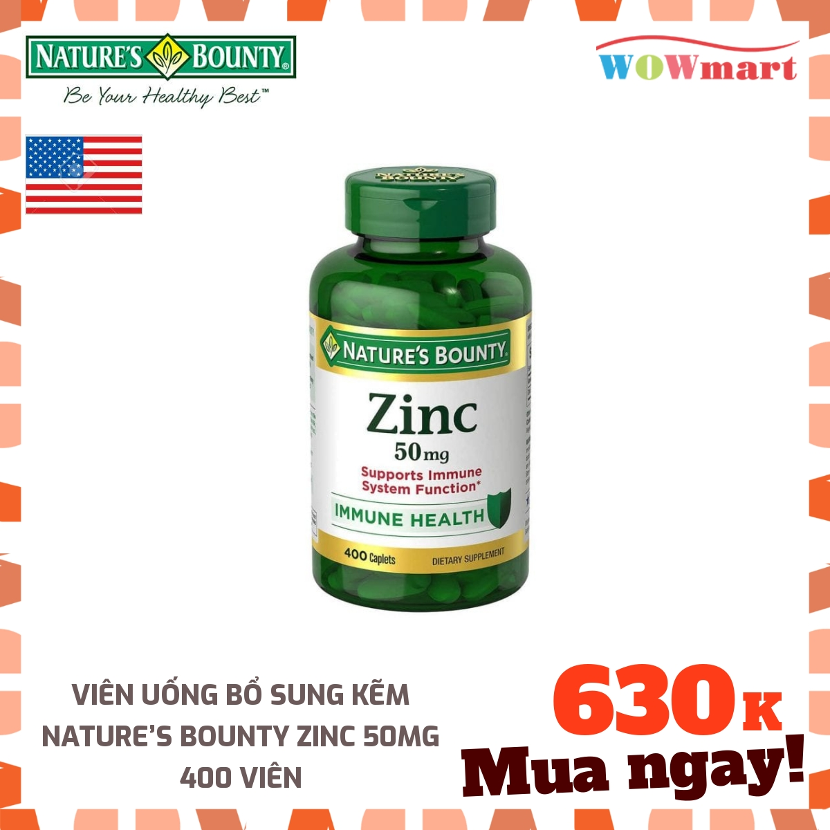 [HCM]Viên uống bổ sung kẽm Nature's Bounty Zinc 50mg 400 viên - [Mỹ]