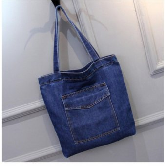 Outlet Woman's One shoulder denim bag Light blue - intl