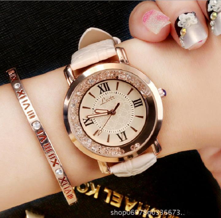 [TẶNG HỘP VÀ PIN 50K] Đồng hồ nữ dây da viền đá kim sa siêu dễ thương chính hiệu LSVTR