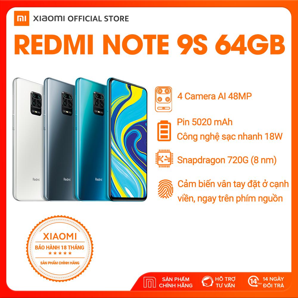 [XIAOMI OFFICIAL] Điện thoại Xiaomi Redmi Note 9S 4GB/64G - Snapdragon 8 nhân 720G Màn hình 6.67 inches Pin khủng 5020mAh sạc nhanh 18W 4 Camera 48MP/8MP/5MP/2MP góc siêu rộng - BH CHÍNH HÃNG 18 tháng