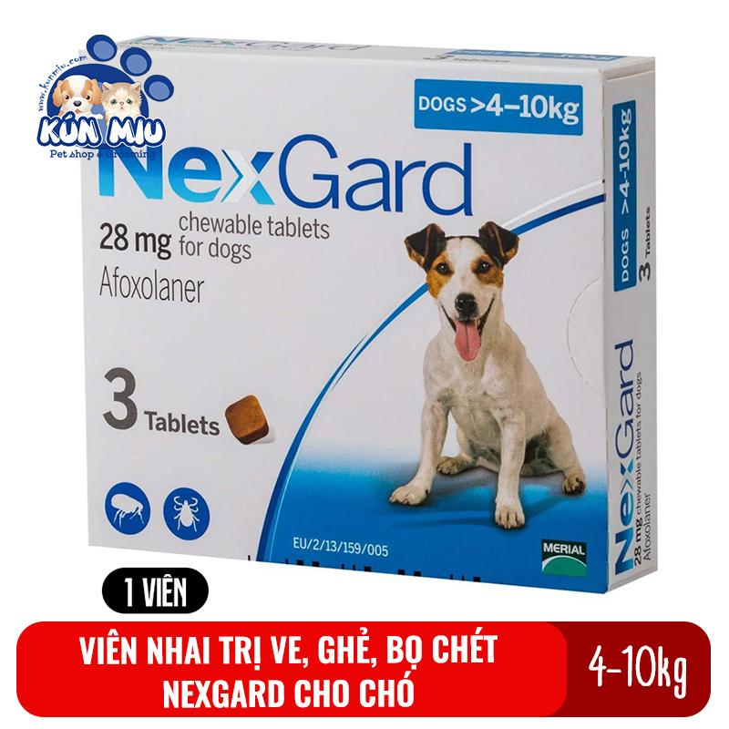 1 Viên nhai trị ve, ghẻ, bọ chét Nexgard cho chó 4-10kg