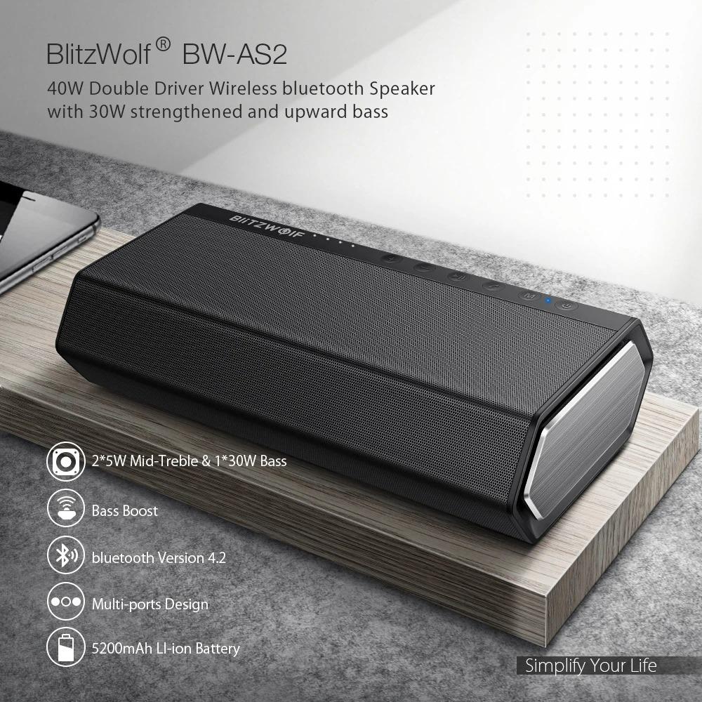 Loa bluetooth BW-AS2 không dây có trình điều khiển đôi BlitzWolf® BW-AS2 40W 5200mAh 40W Tăng cường âm trầm hướng lên