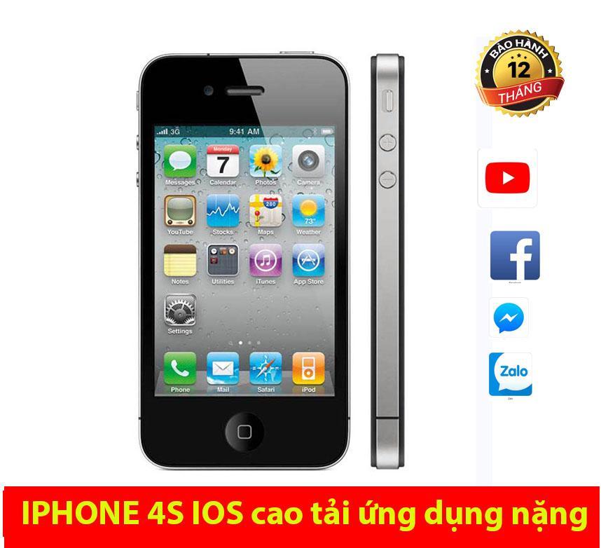 Điện thoại iphone 4s 16gb cảm ứng qt có za lo face tặng kèm sạc bh 12 tháng 1 đổi 1