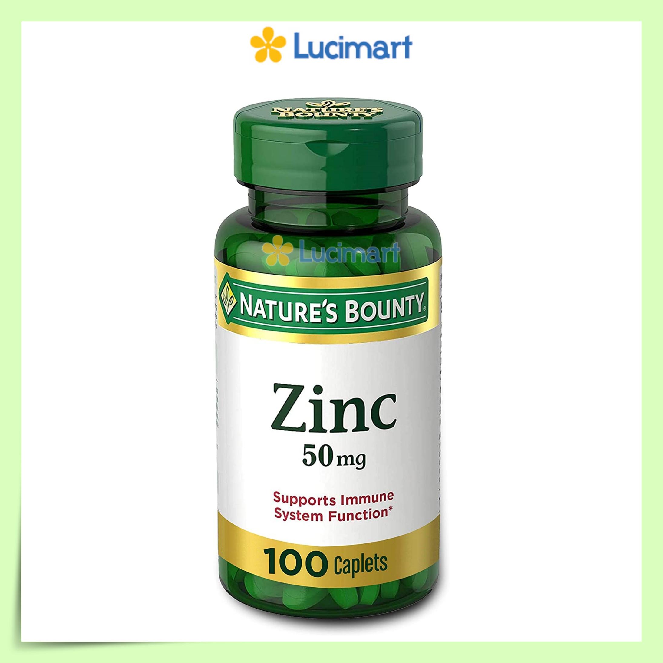 Viên uống Zinc 50mg Nature's Bounty bổ sung Kẽm, hũ 100 viên nén [Hàng Mỹ]