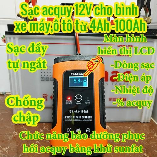 [FOXSUR LOẠI 1]Sạc bình ac quy 12v FOXSUR từ 4Ah-100Ah có chức năng phục hồi acquy bằng khử sunfat thông minh tự ngắt khi đầy chống ngược cực - Sạc acquy xe máy  acquy ô tômáy nạp bình ắc quy
