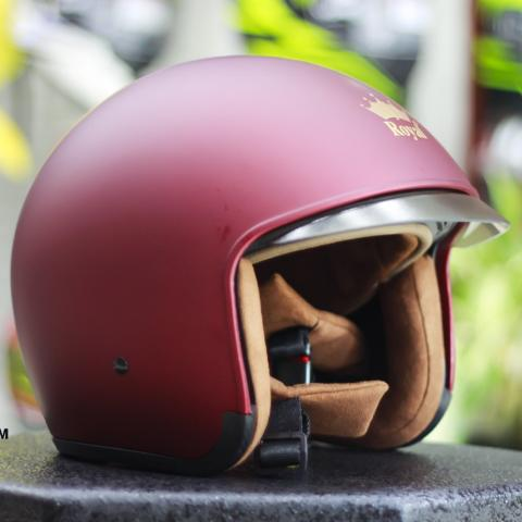 Nón bảo hiểm 3/4 kính âm Royal M139 đỏ đô tem mờ (kính khói) - Bảo hành trọn đời