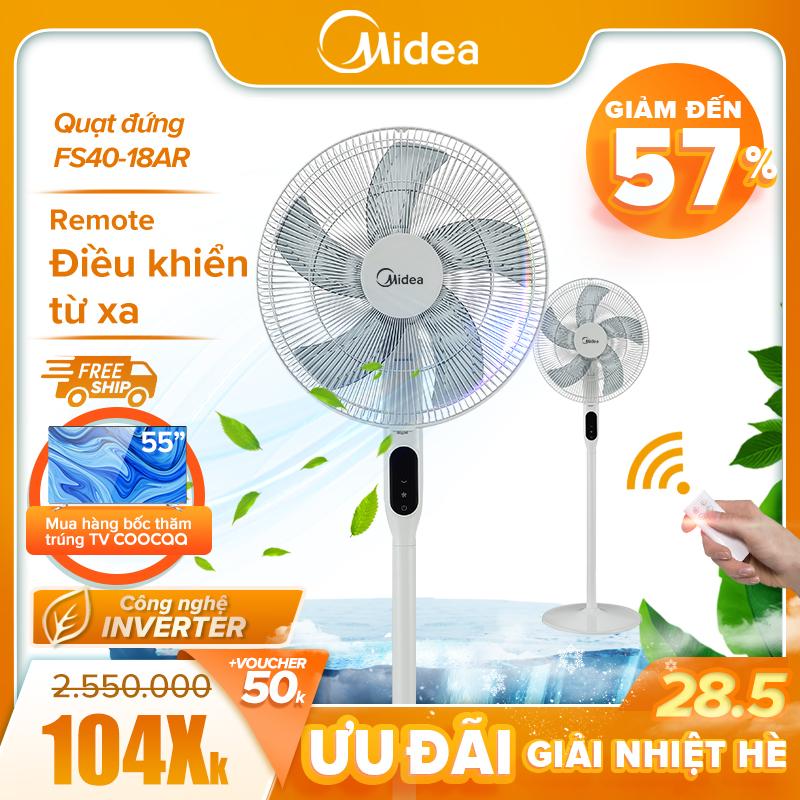 Quạt Midea Inverter FS40-18AR cao cấp - 12 cấp gió điều khiển từ xa - DC Inverter siêu tiết kiệm điện (35W)- Điều chỉnh cao thấp linh hoạt - Tự tắt nguồn khi quá tải - Hàng chính hãng Bảo hành 12 tháng.