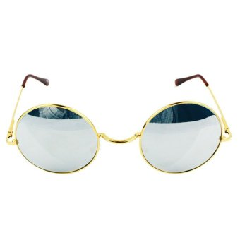 Vintage Unisex lens Round Glasses Steampunk Sunglasses Siliver