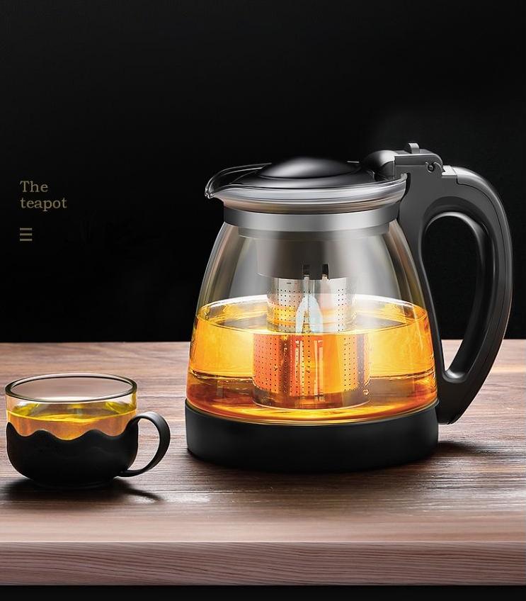 Bộ Bình Lọc Trà Lưới Inox 304 Thủy Tinh Kèm 4 Ly- Bình PhaTrà, Cafe Glass TeaPot Cao Cấp 700ml Tặng Kèm 4 Ly