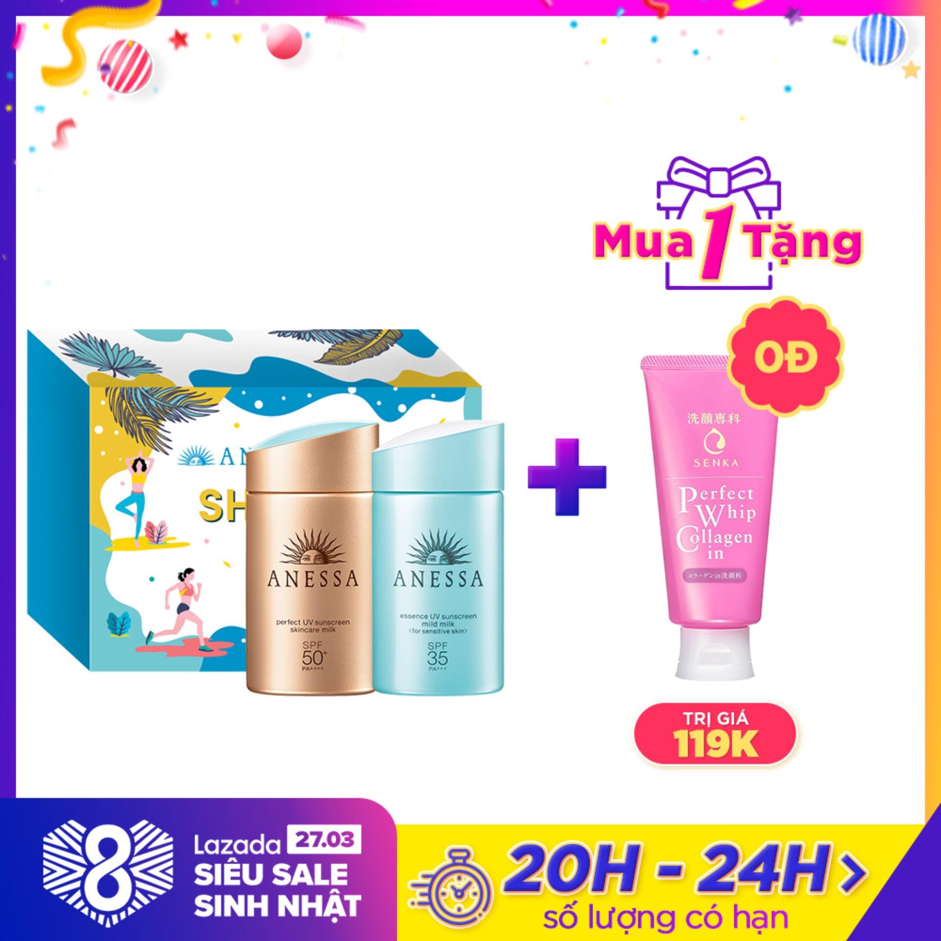 Bộ đôi kem chống nắng Anessa tiện lợi  (Perfect UV Sunscreen Skincare Milk - SPF 50+ PA++++ - 60ml + UV Sunscreen Mild Milk - SPF35 PA+++ - 60ml)