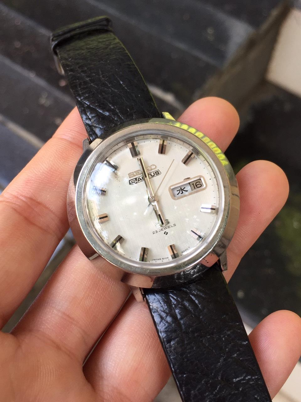 [HCM]Đồng hồ cơ cổ nam Seiko 5ACTUS SS 23 jewels có ô cửa lịch thứ và ngày dây da