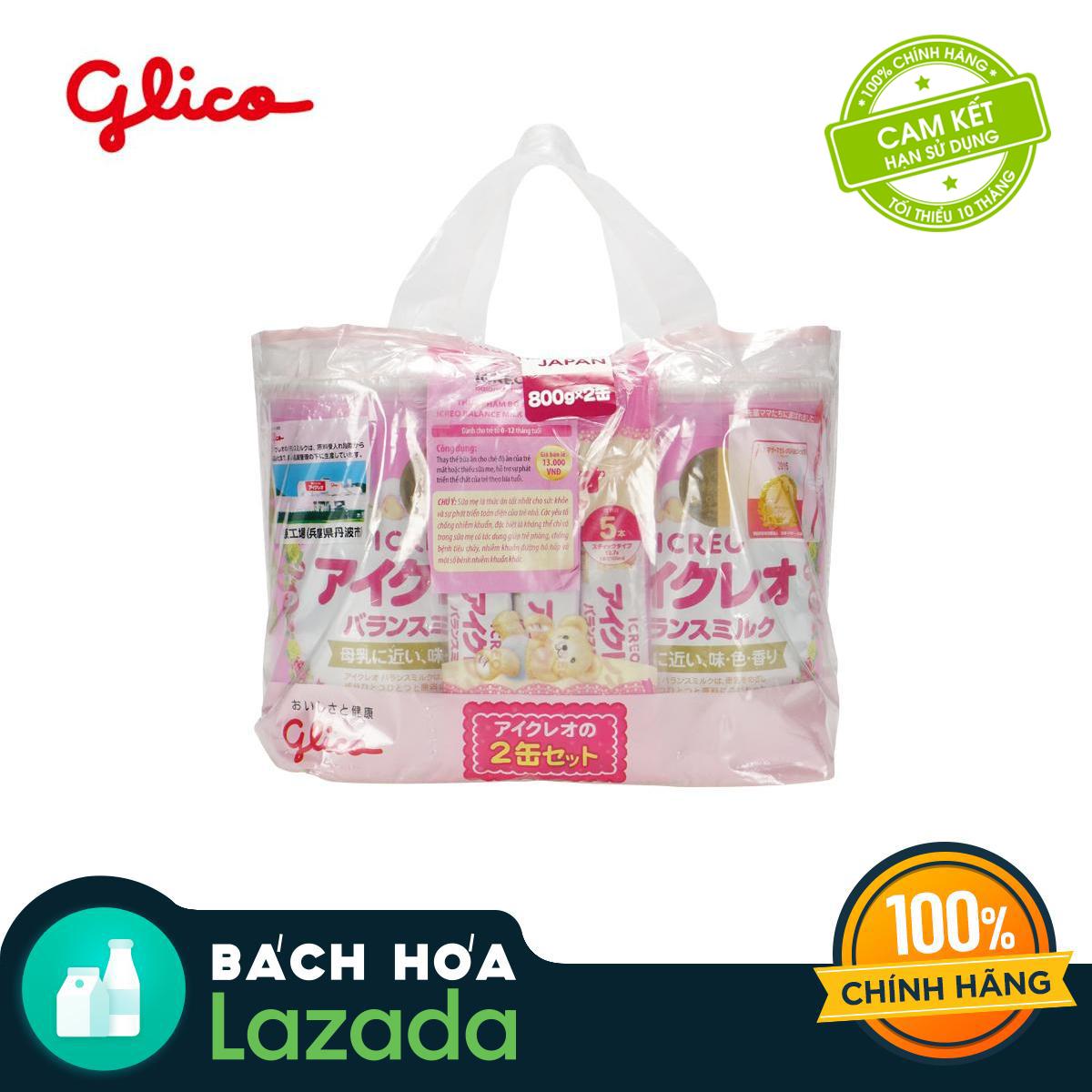 CB Glico Icreo Balance Milk số 0 gồm 2 hộp 800g & 5 thanh sữa tiện dụng (5 thanh x12.7g) - 100% nội địa Nhật Bản