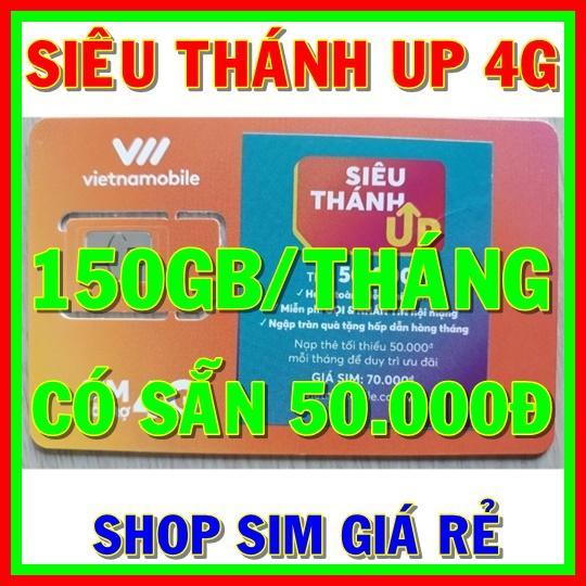 Sim 4G Vietnamobile Siêu Thánh Sim UP có 150GB/tháng + Tặng Sẵn 50.000đ + Nghe Gọi Và Nhắn Tin Nội Mạng Miễn Phí - Shop Sim Giá Rẻ