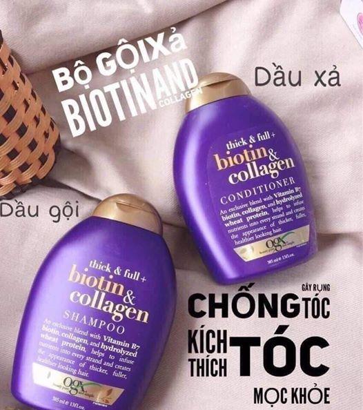 Gội xã Biotin Cặp dầu gội collagen dầu gội biotin tím dầu gội bitotin collagendầu gội phục hồi tóc hư tổn chống rụng tóc kích thích mọc tóc Vstore