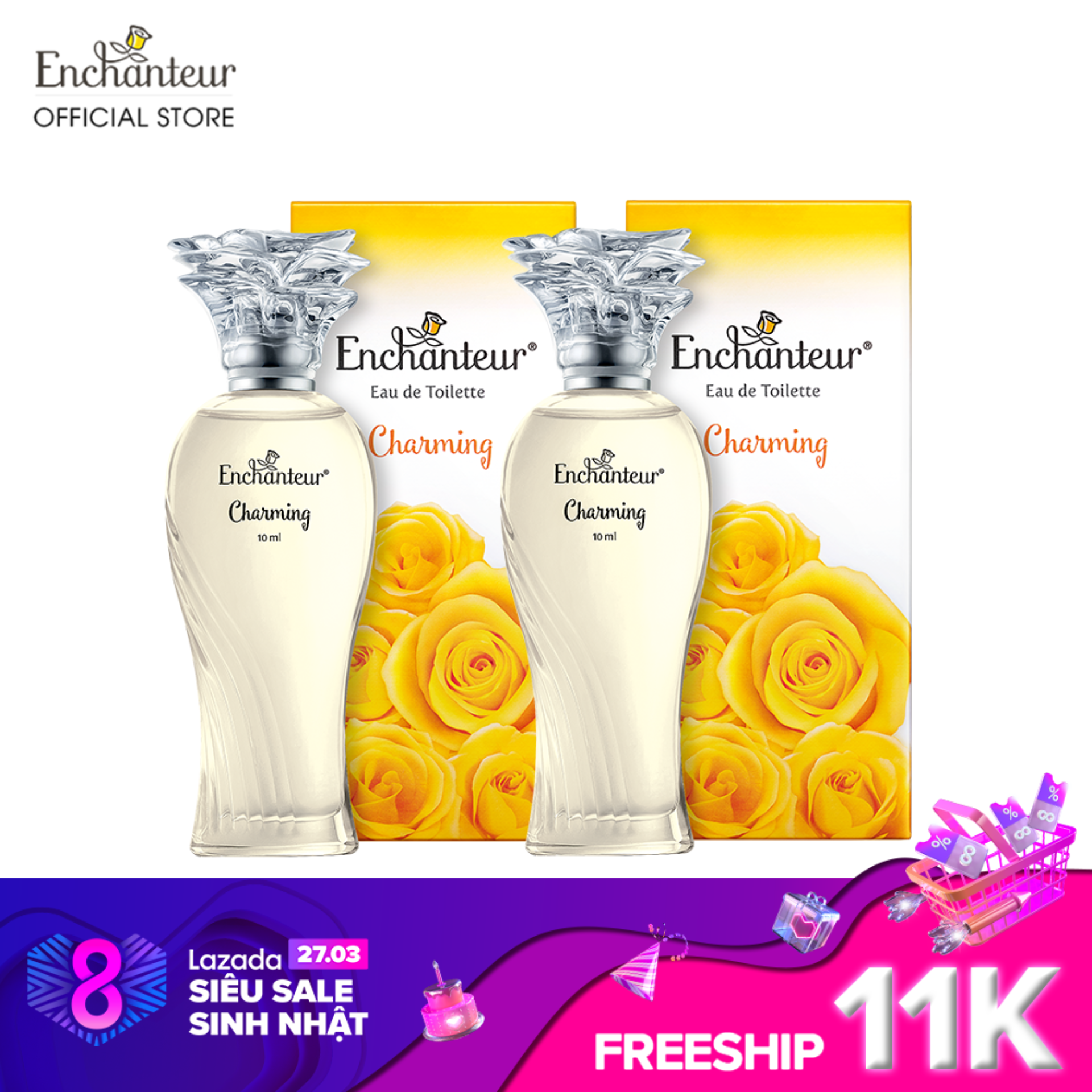 Combo 2 Nước hoa cao cấp Enchanteur hương Charming 10ml/Chai