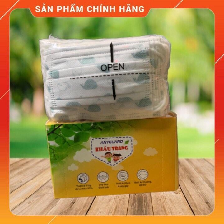[HỘP 50 CÁI - cho bé 3 đến 9 tuổi] Khẩu trang y tế ANYGUARD an toàn cho bé siêu mịn và kháng khuẩn sản xuất theo công nghệ Hàn Quốc -50 pieces face mask ANYGUARD per box for kids - 어린이 마스크