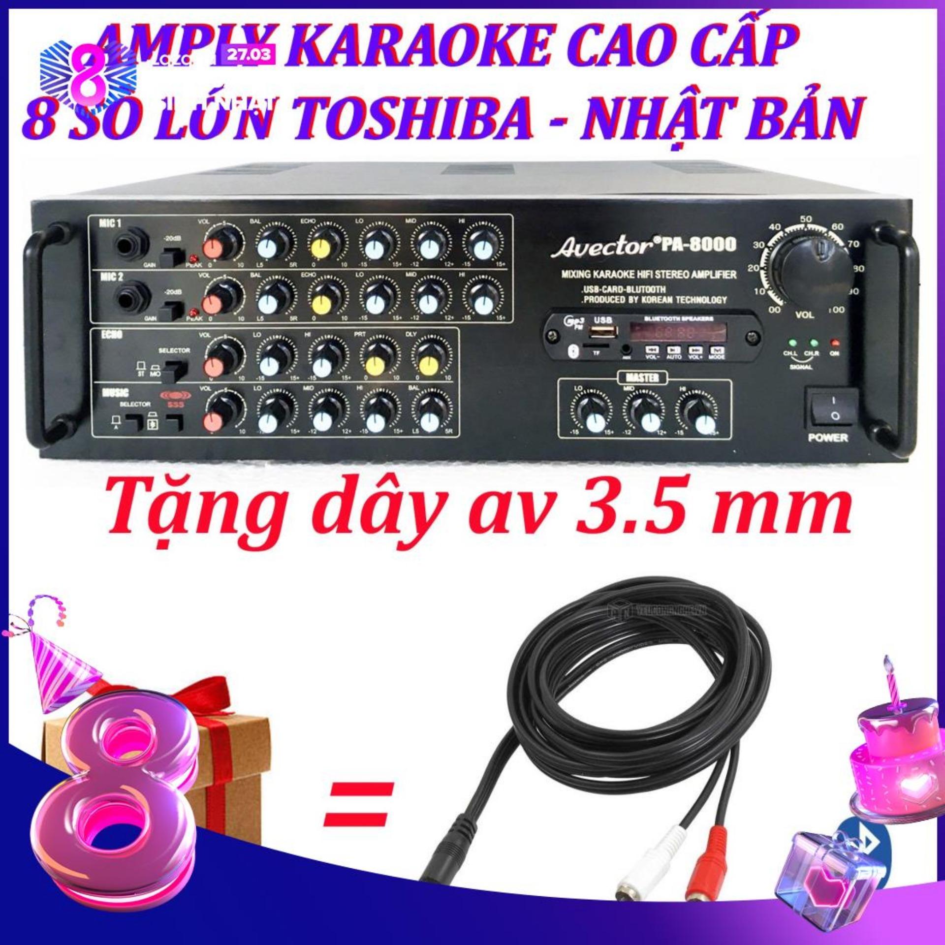 Amply karaoke ampli karaoke amply bluetooth nghe nhạc amply hat karaoke AVECTOR 8000 tặng dây av 3.5mm