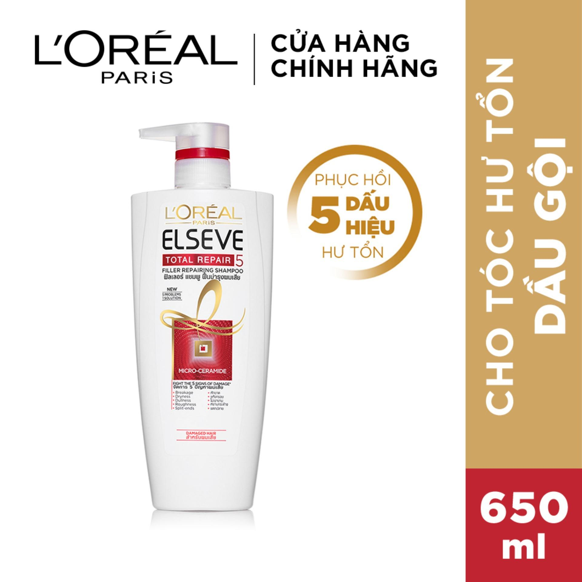 Dầu gội phục hồi tóc toàn diện Loreal Paris Elseve Total Repair 5 Repairing Shampoo 650ml