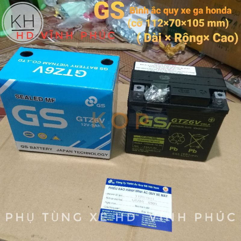 Bình Ắc Quy Khô GS GTZ6V (12V-5Ah) lắp xe ga honda -8%