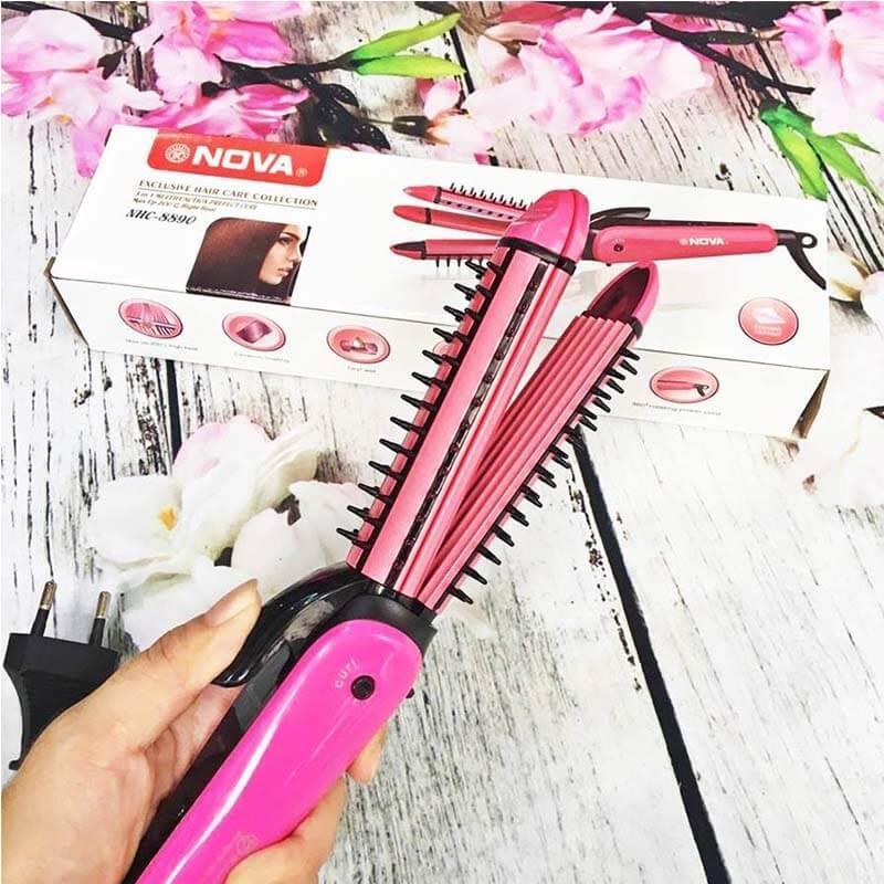 Máy duỗi tóc - máy bấm tóc - máy uốn tóc xù tạo kiểu tóc 3 chức năng: duỗi uốn bấm tạo kiểu tóc - 3in1 Siêu tiện lợi