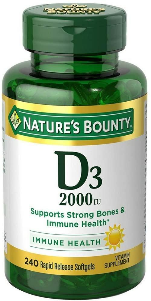 Viên uống bổ sung Vitamin D3 Natural Bounty 50mcg 2000IU hộp 240 viên của Mỹ