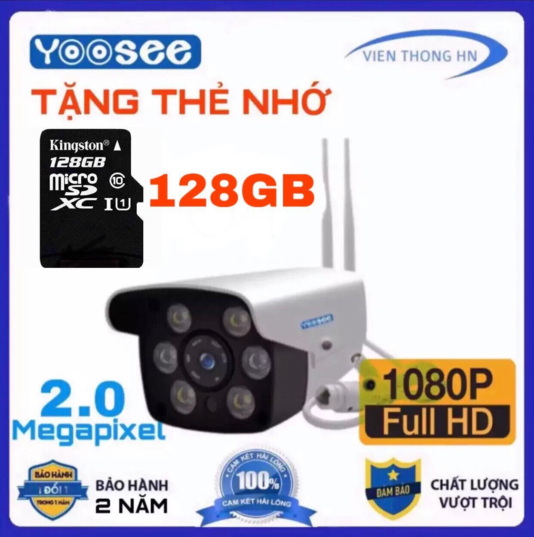 [CÓ MẦU BAN ĐÊM ] LƯU TRỮ 128GB camera wifi 2.0 ngoài trời - trong nhà camera yoosee 2.0 Mpx full hd 1080p - hỗ trợ 2 đèn hồng ngoại và 4 đèn LED + kèm thẻ nhớ 64 - NEW