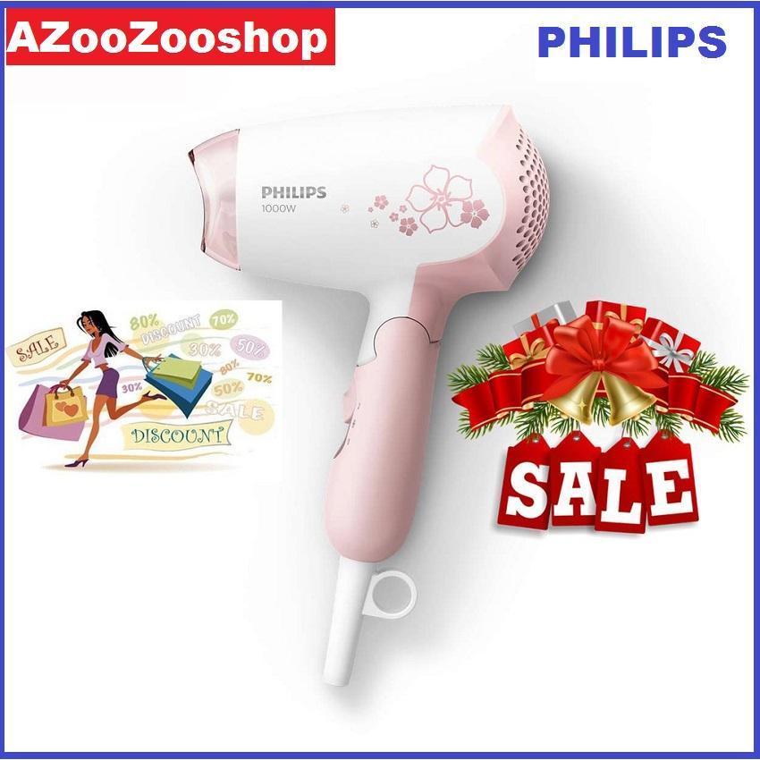 Máy sây tóc mini philips HP8108 1000W dễ dàng sấy và tạo kiểu tóc bảo hành 2 năm trên toàn quốc (Hồng trắng)