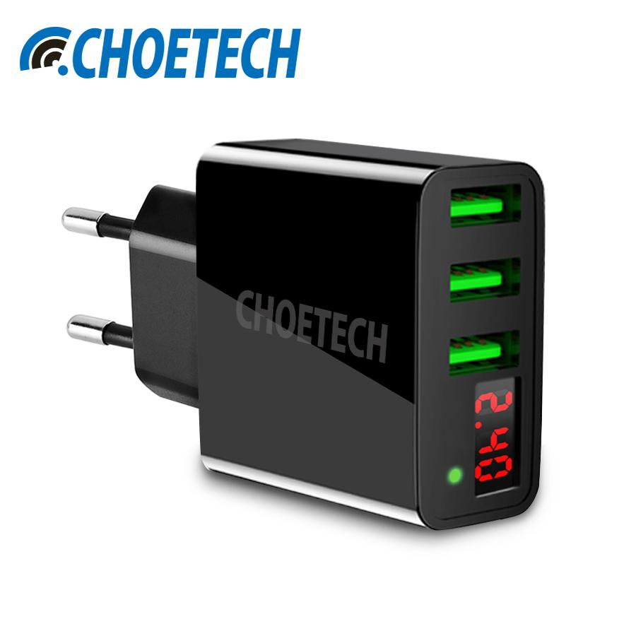 CHOETECH 3-Ports USB Wall Charger 5V/3A 3-Port USB Charger LED diaplay Charging Compatible for iPhone iPad Samsung Other Smartphones Tablets Other USB Devices TravelHomeOffice