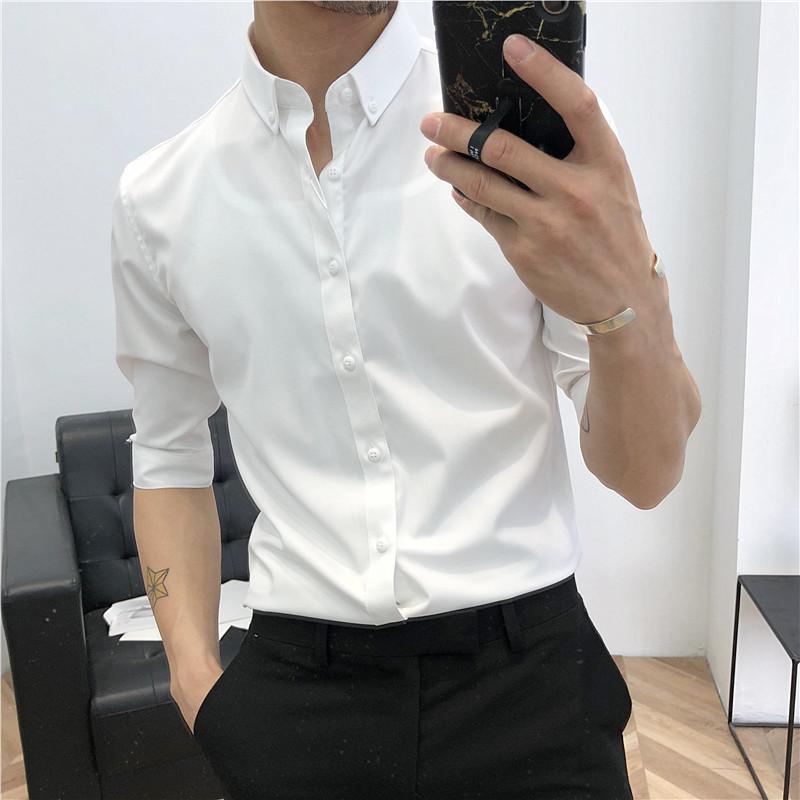 áo sơ mi nam tay dài chất liệu Vải Lụa Chống Nhăn chống xù  ao so mi nam trắng phong cách công sở thanh lịch (ảnh thật)