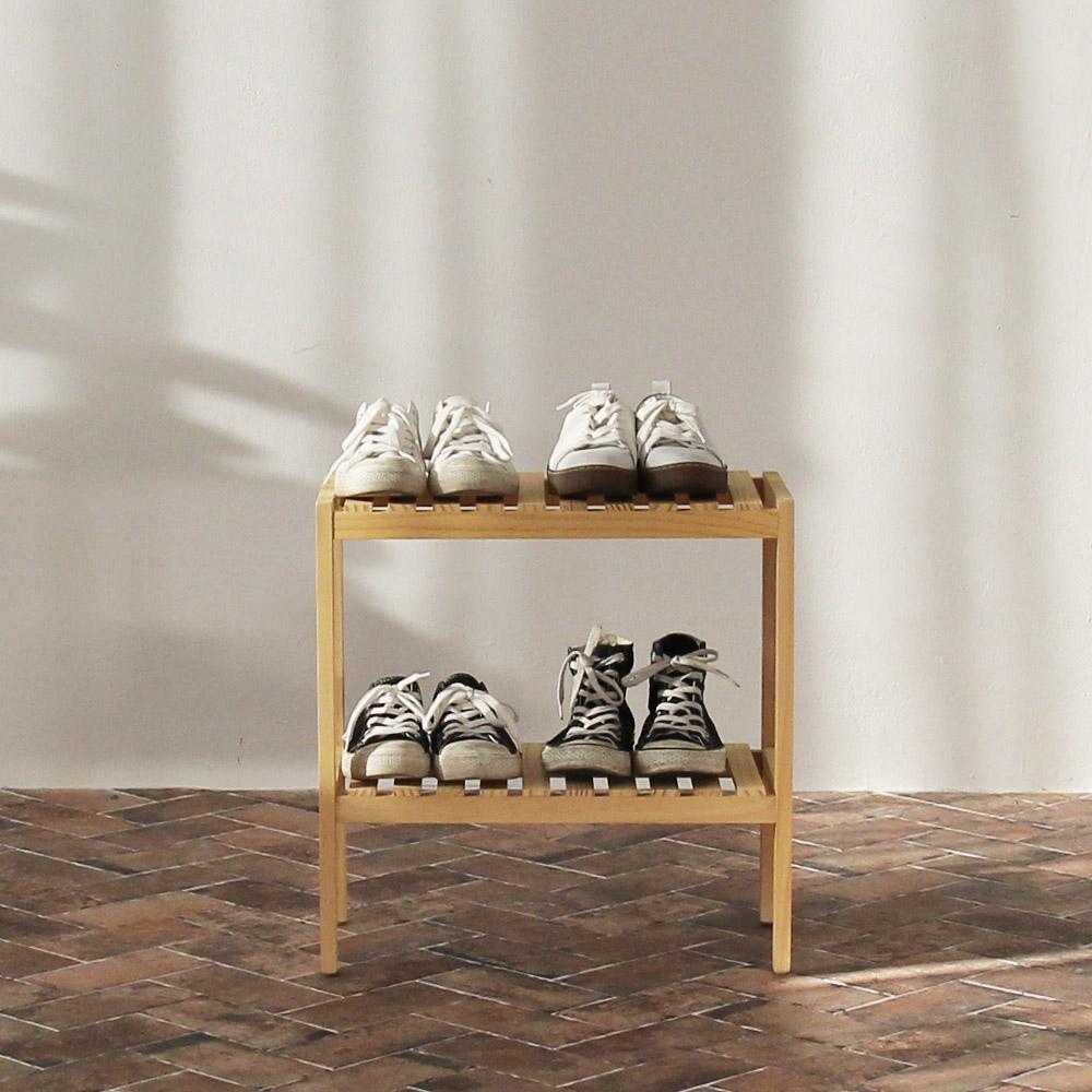 Kệ giày dép gỗ 2 tầng -2T500 Gỗ thông nhập khẩu Newzealand giúp căn nhà thêm gọn gàng sạch sẽ tiện lợi hài hòa