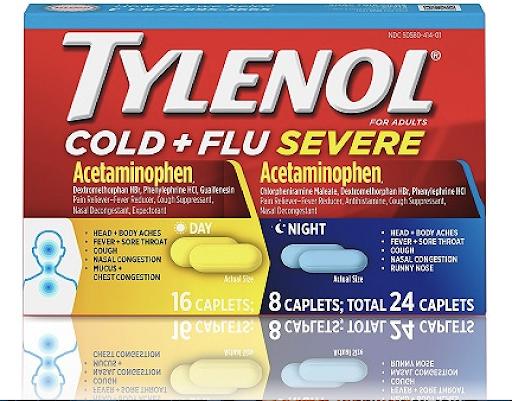 [Sale 9.9] Viên uống hạ sốt, giảm đau _Tylenol_Mỹ 24 viên 325mg ngày và đêm (bay air)