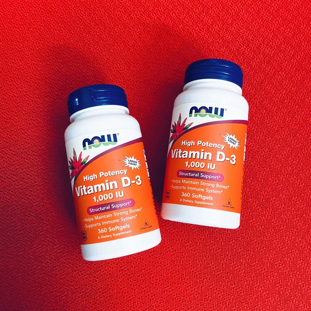 Vitamin D3 | Now Vitamin D3 1000 IU 180 - 360 viên - Tăng Đề Kháng - Chính Hãng - Muscle Fitness
