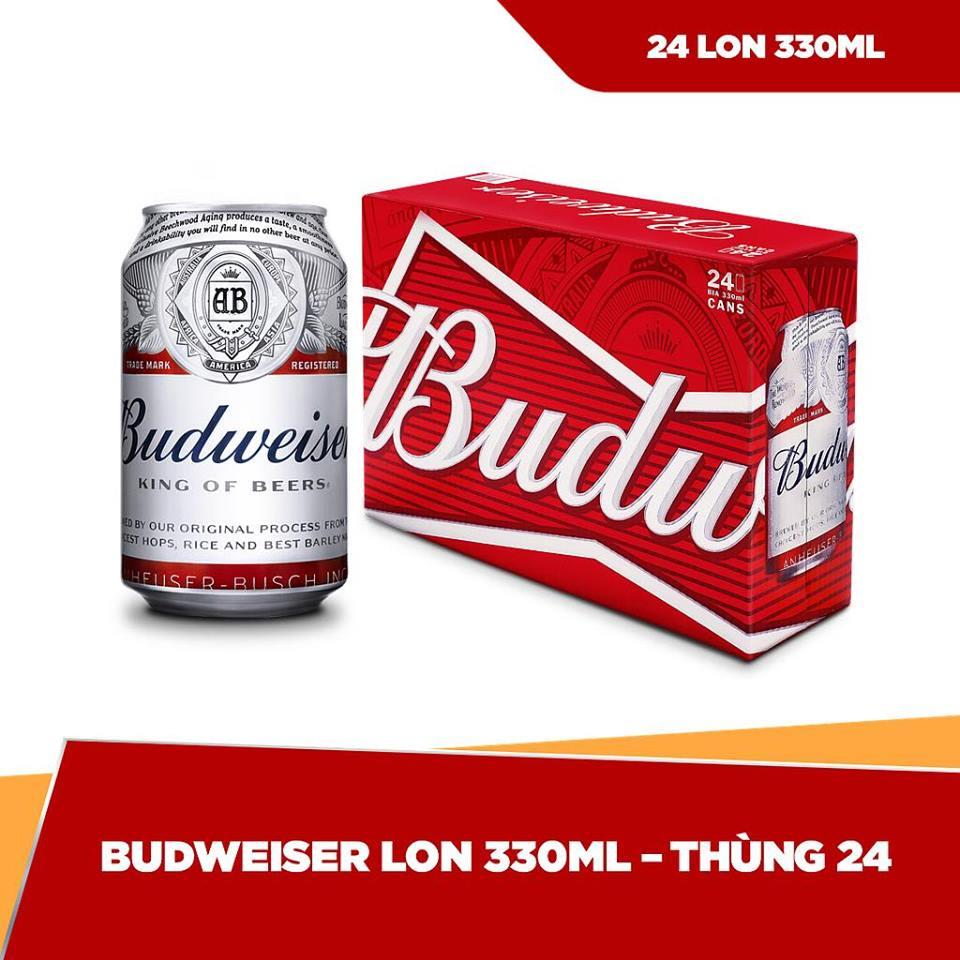 BIA BUDWEISER Lon 330ml x 24 | Chính hãng Date dài