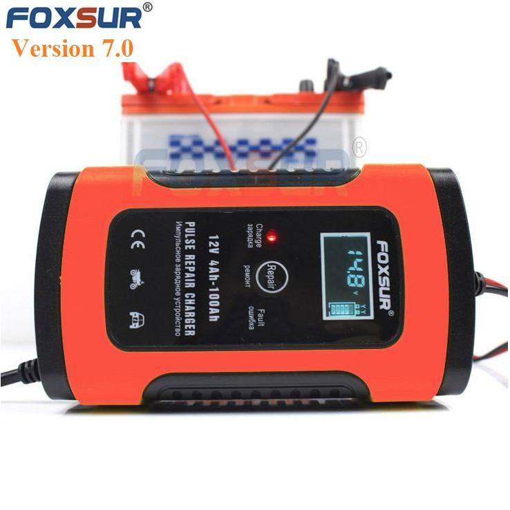 sạc bình ắc quy 12v 100Ah foxsur có khử sunfat
