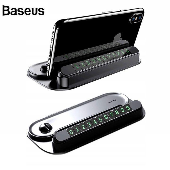 Bảng số điện thoại trên taplo ô tô, xe hơi nhãn hiệu Baseus ACNUM-PM01 tích hợp bảng số phản quang ( Màu đen)