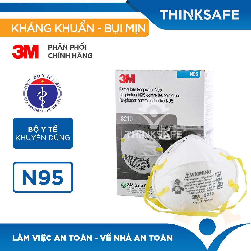 Khẩu trang N95 3M 8210 - Khẩu trang 3d mask đạt chuẩn N95 chống bụi,chống độc, Khẩu trang 3m chính hãng - Thinksafe chính hãng