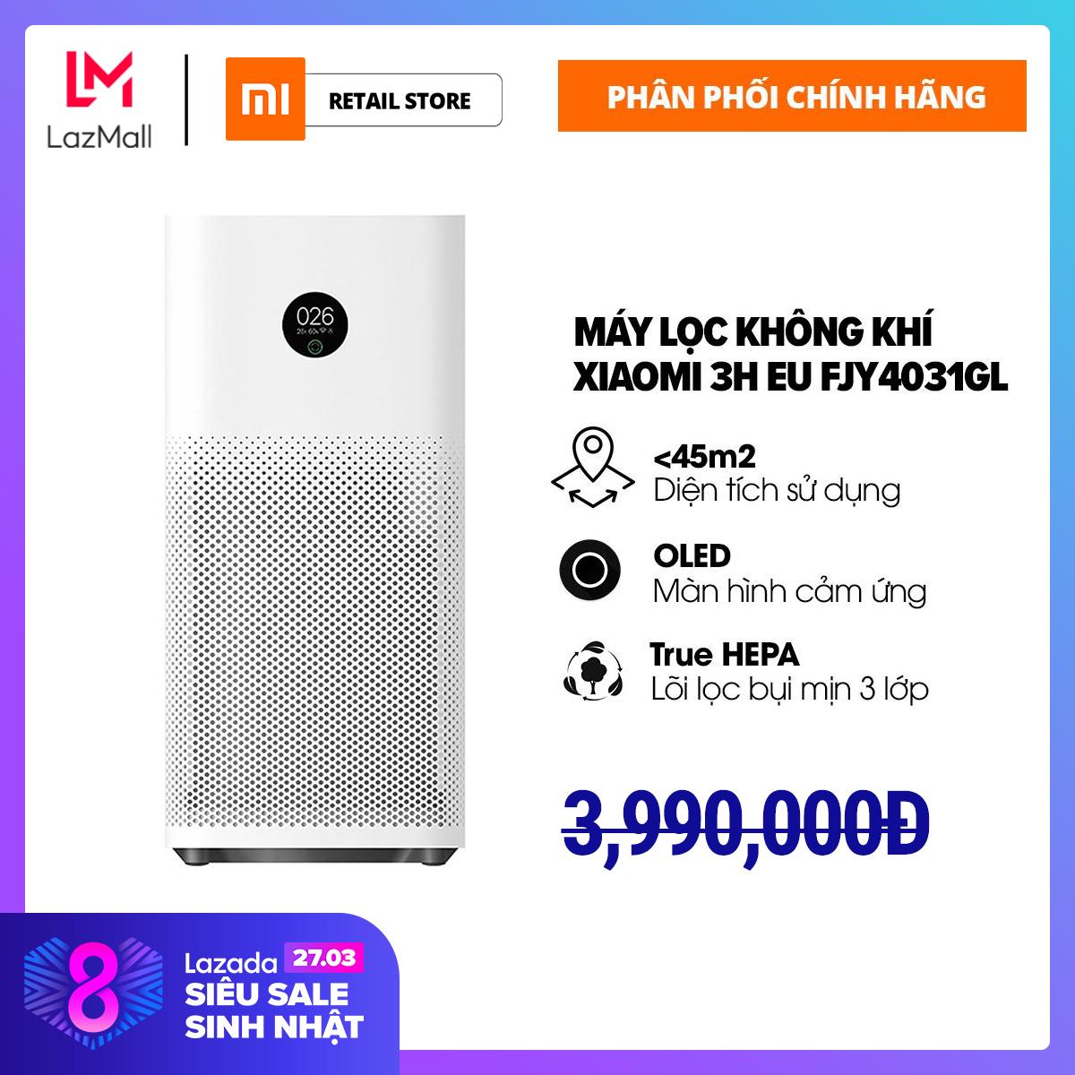 Máy Lọc Không Khí Xiaomi 3H EU FJY4031GL - Hàng Phân Phối Chính Hãng - Trang bị lõi lọc chuẩn HEPA - loại bỏ 9997% các loại bụi có kích thước 0.3 nano