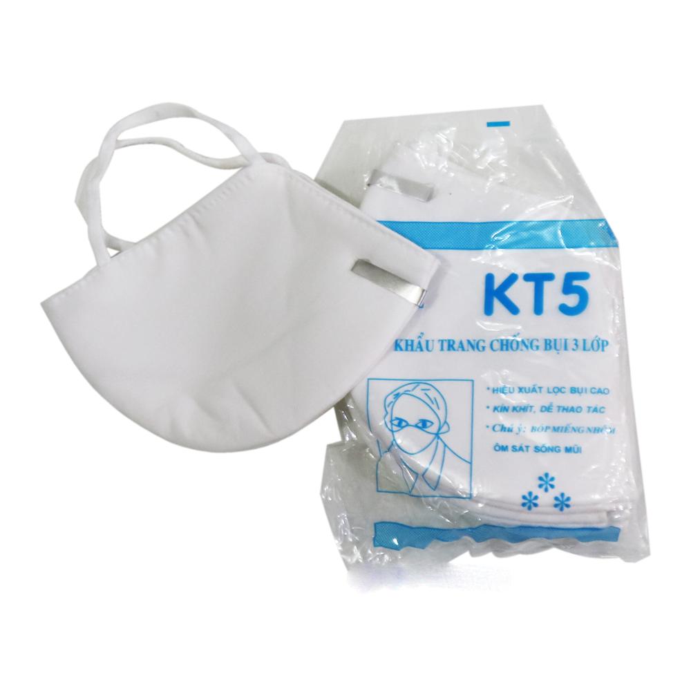 Khẩu trang chống bụi mịn KT5 3 lớp lọc kháng khuẩn ngăn virus. (1 CHIẾC)