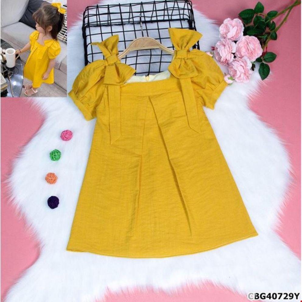 Đầm linen nơ vai xinh xắn cho bé gái
