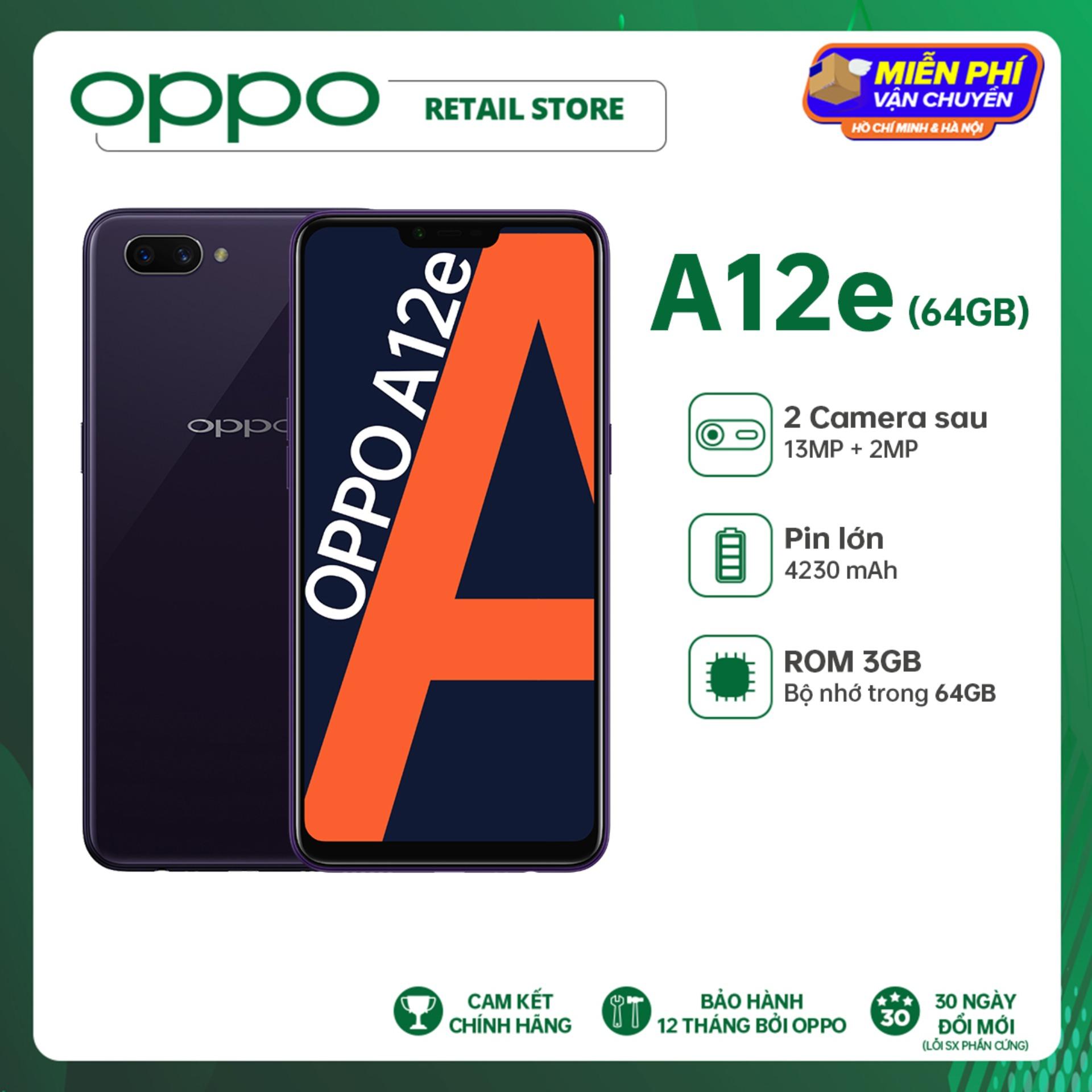 ĐỘC QUYỀN LAZADA Điện thoại OPPO A12e (3GB/64GB) - Pin trâu hơn 4230Mah Bộ nhớ lớn hơn 64GB Camera sap kép xóa phông Camera trước làm đẹp AI - Hàng chính hãng Bảo hành 12 tháng