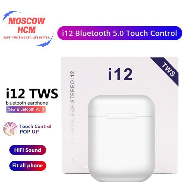 SẢN PHẨM BÁN CHẠY i12 Tai Nghe Bluetooth 5.0 i12 TWS cảm biến vân tay - Tai nghe Bluetooth không dây i12S TWS tai nghe kiểu AirPods tai nghe bluetooth khong day i12 - Chất âm và pin tốt hơn các tai nghe đời trước i7 i7s i9 i9s i9 mini i10  i11