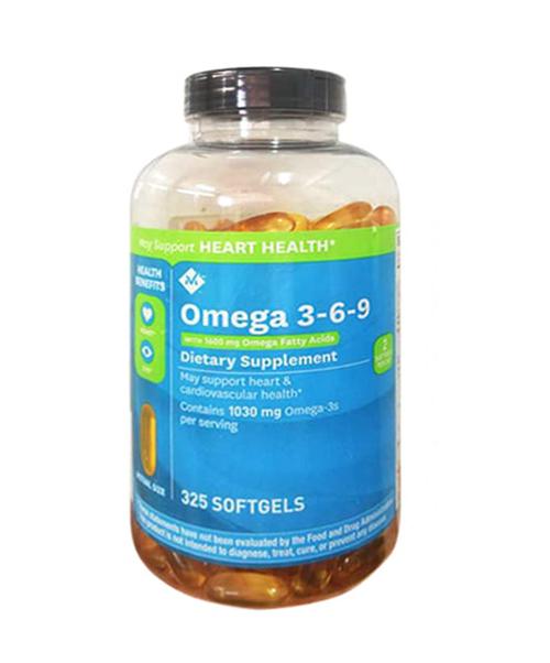Viên bổ sung Omega 3-6-9 của Member's Mark Mỹ bảo vệ tim mạch, tăng cường trí não hộp 325 viên của Mỹ