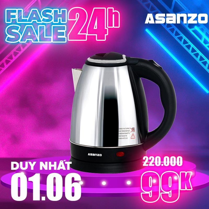 Ấm Đun Nước Siêu Tốc 1.8 Lít 1500W Asanzo SK-1800 - Hàng Phân Phối Chính Hãng Bảo Hành 6 Tháng